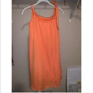 peach love orange tie neck dress
